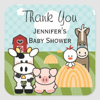 Barnyard Farm Animal Party Favor Sticker Labels