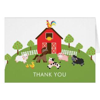 Barnyard Farm Animals Baby Shower Thank You Note Card