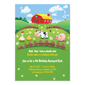Barnyard Farm Kids Birthday Invitations