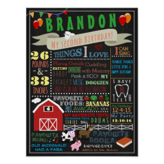Barnyard Second Birthday Poster
