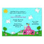 "Barnyard Whimsy Invitations: Pink 5"" X 7"" Invitation Card"
