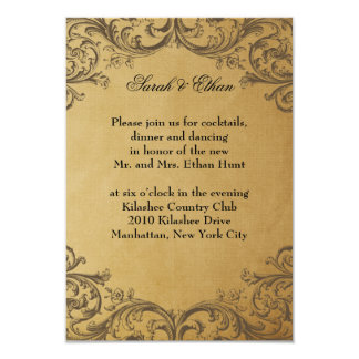 "Baroque Antique Gold Wedding Reception Cards 3.5"" X 5"" Invitation Card"