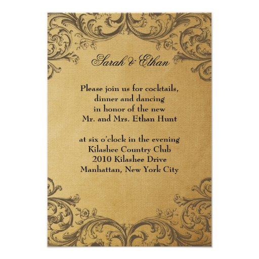 Baroque Antique Gold Wedding Reception Cards Invitation