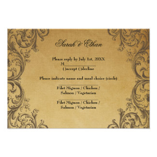 Baroque Antique Gold Wedding RSVP Cards Personalized Invites