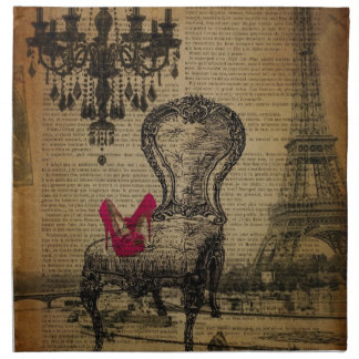 baroque chandelier rococo paris eiffel tower napkin