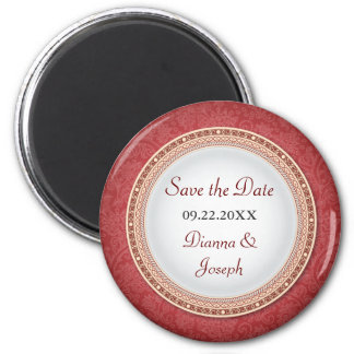 Baroque Crimson Plaque Wedding Save the Date Magne 2 Inch Round Magnet