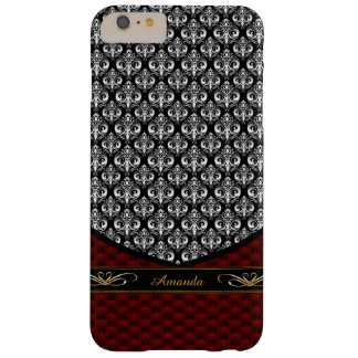 Baroque Damask Leather iPhone 6 Plus Monogram Case