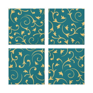 Baroque Design – Gold on Teal Canvas Print