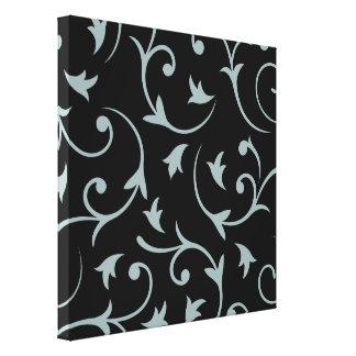 Baroque Design Light Teal & Black Stretched Canvas Print