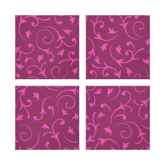 Baroque Design – Pink & Plum Canvas Print