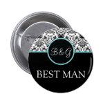 Baroque Elegance Best Man Button-Aqua