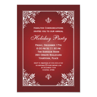 "Baroque Elegance Garnet Corporate Holiday Party 4.5"" X 6.25"" Invitation Card"
