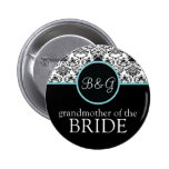 Baroque Elegance Grandmother of Bride Button-Aqua