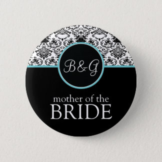 Baroque Elegance Mother of the Bride-Aqua 2 Inch Round Button