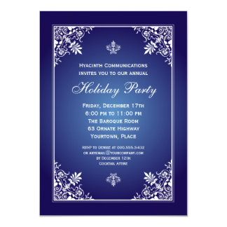 Baroque Elegance Sapphire Corporate Holiday Party Invitations
