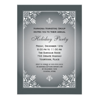 Baroque Elegance Silver Corporate Holiday Party Personalized Invitation