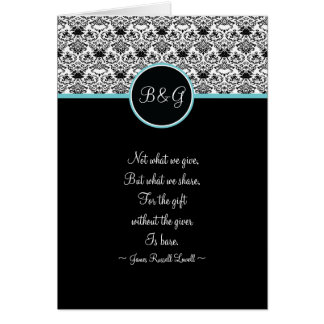 Baroque Elegance Thank You Card -Aqua