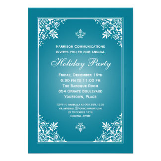 Baroque Elegance Turquoise Corporate Holiday Party Personalized Invite