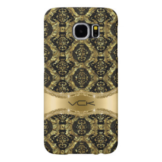 Baroque Floral Pattern In Black And Gold Samsung Galaxy S6 Cases