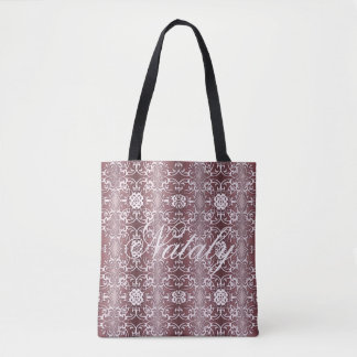 baroque floral purple pattern tote bag