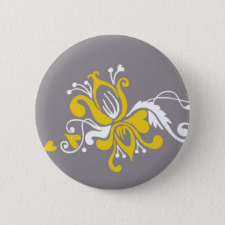 Baroque Flower on Grey 2 Inch Round Button
