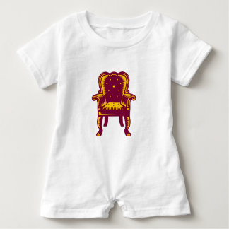 Baroque Grand Arm Chair Woodcut Baby Romper