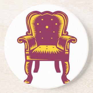 Baroque Grand Arm Chair Woodcut Coaster
