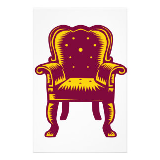 Baroque Grand Arm Chair Woodcut Customized Stationery