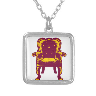 Baroque Grand Arm Chair Woodcut Silver Plated Necklace