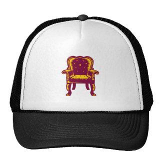 Baroque Grand Arm Chair Woodcut Trucker Hat