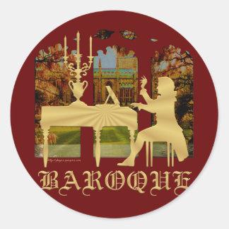 Baroque harpsichord classic round sticker