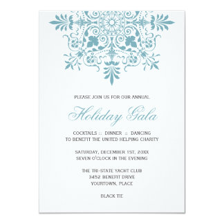 Baroque Ice Blue Ornamental Holiday Gala Invite