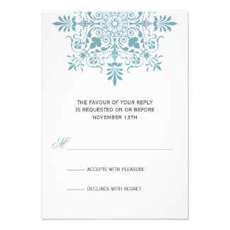 Baroque Ice Blue Ornamental Holiday Gala RSVP Personalized Invitations