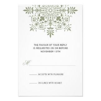 Baroque Jade Ornamental Holiday Gala RSVP Custom Invitation