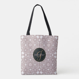 baroque lace pattern.monogram. tote bag