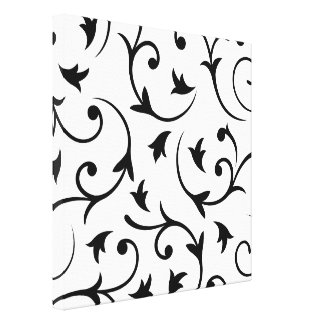 Baroque Large Design Black on White Stretched Canvas Print