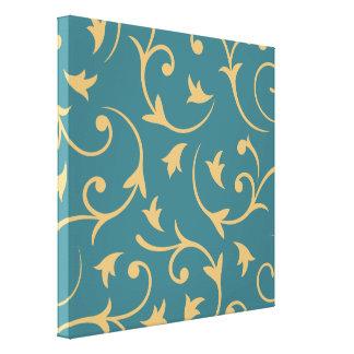Baroque Large Design Teal & Gold Canvas Prints