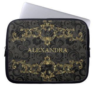 Baroque Ornate Gold Pattern-Optional Monogram Laptop Sleeve