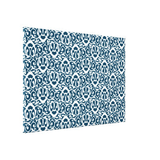 Baroque pattern blue white gallery wrap canvas
