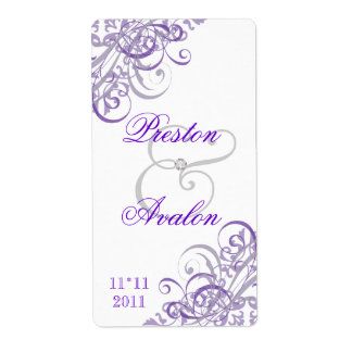 Baroque Purple Scroll White Wedding Wine Label