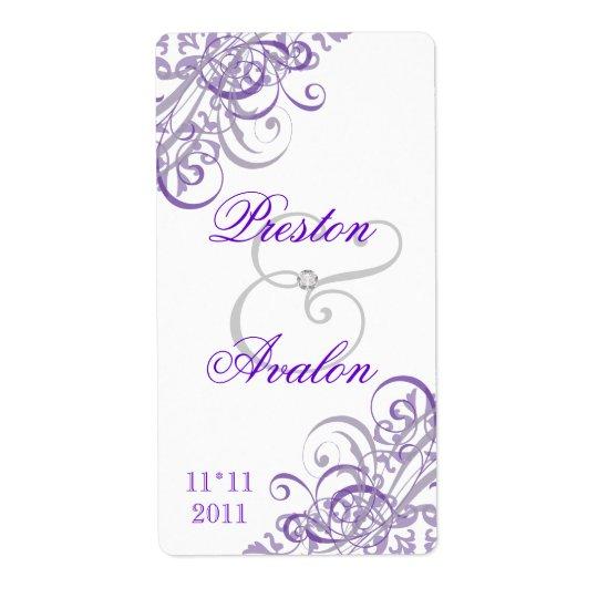 Baroque Purple Scroll White Wedding Wine Label