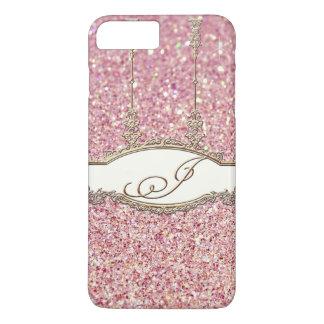 Baroque Rococo Gold Monogram J Bokeh Glitter Pink iPhone 7 Plus Case
