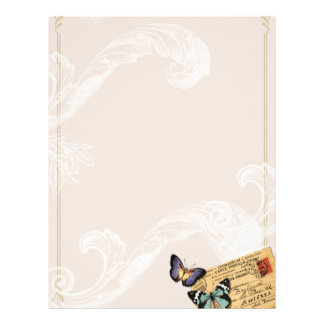 Baroque Scrolls Butterfly Vintage Style Stationery Letterhead Template