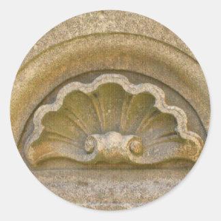 Baroque shell classic round sticker