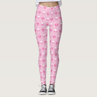 Baroque Skull Stripe Pattern Pink Leggings