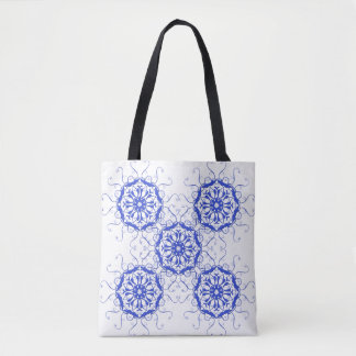 baroque style blue element. tote bag
