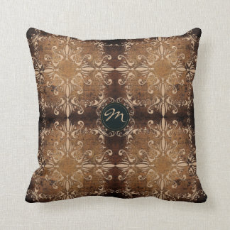 baroque style element on old paper background throw pillow