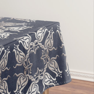 baroque style floral  blue pattern tablecloth