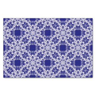 baroque style floral  blue pattern tissue paper