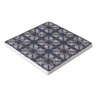 baroque style floral  blue pattern trivet